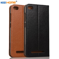 Case For Xiaomi Redmi 4A Case KEZiHOME Litchi Genuine Leather Flip Stand Leather Cover Capa For