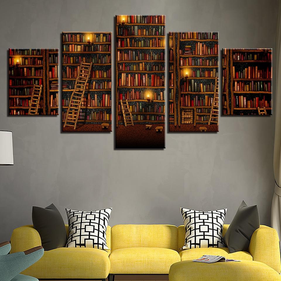 Fantasy Home Decor: 5 Piece Canvas Painting Fantasy Study Library Book