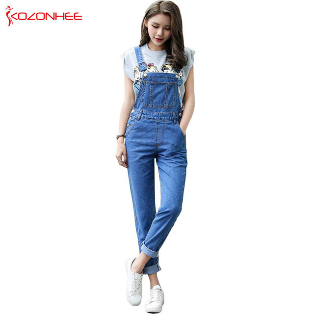 d5eb56b0282 Casual Straight Straps Overalls Jeans Rompers Womens Loose High Waist Jeans  Jumpsuit Female Boyfriend Denim Overalls