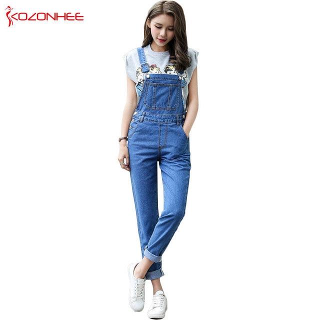 0dcc88b33d0d Casual Straight Straps Overalls Jeans Rompers Womens Loose High Waist Jeans  Jumpsuit Female Boyfriend Denim Overalls