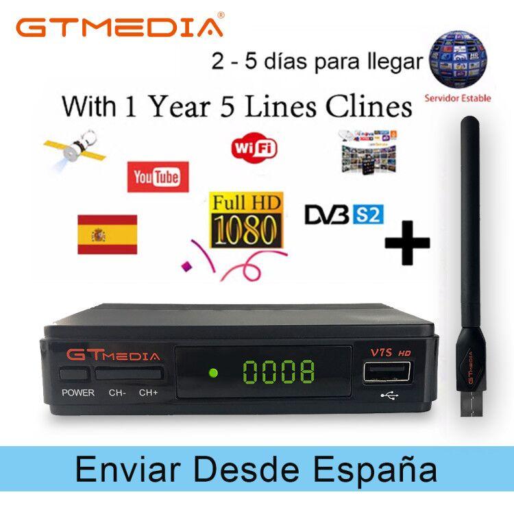 Récepteur Satellite Gtmedia V7S HD DVB-S2 récepteur Satellite 1080 P Freesat v7 YouTube Biss VU Wifi Clines décodeur PVR Capture USB