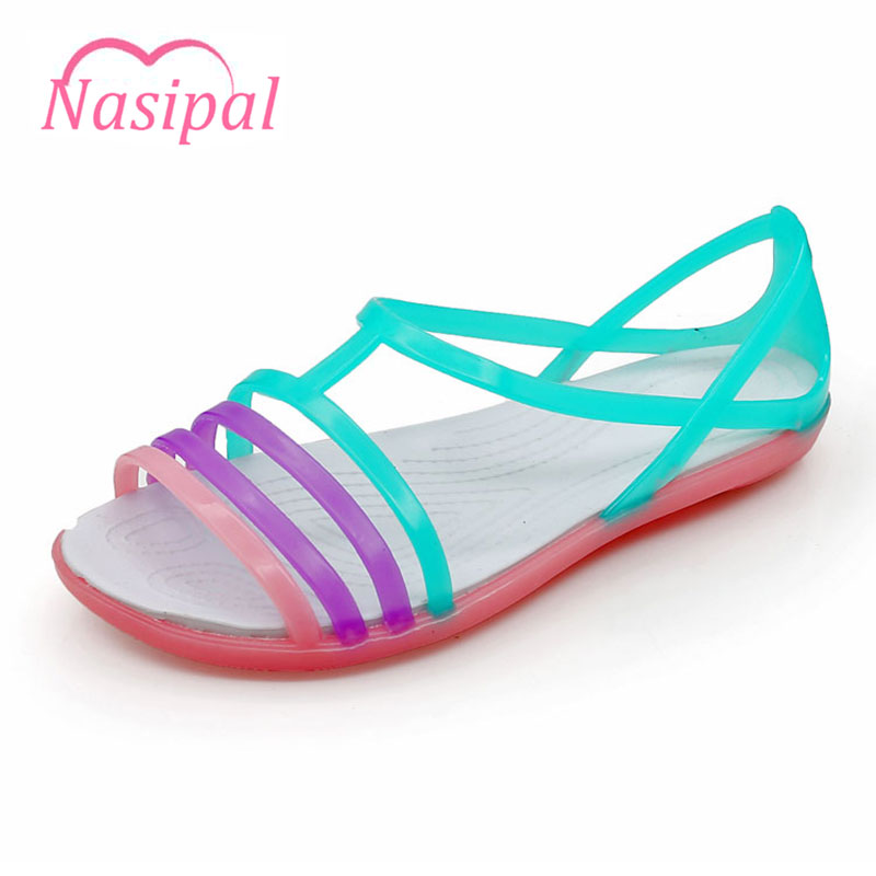 Nasipal Women Sandals 2017 Summer New EVA Candy Color Peep Toe Beach Valentine Rainbow Croc Jelly Shoes Woman Wedges sandals G2 free shipping candy color jelly sandals new plastic chain beach shoes chain flat bottomed out sandals lace up chains women shoes