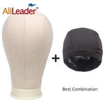 Alileader Best Selling Wig Head With Stand Canvas Mannequin Head 2 pcs Black Spandex Wig Caps Bald Cap For Wig Head Stand(China)
