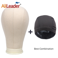 Alileader Best Selling Wig Head With Stand Canvas Mannequin Head 2 pcs Black Spandex Wig Caps Bald Cap For Wig Head Stand