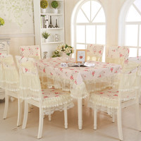 13pcs/set Printed Tablecloth For Wedding Decoration Home Quality Embroidered Table Cloth Set Chair Covers Rectangle Tablecloths