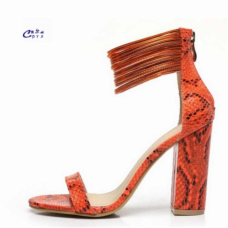 ФОТО CDTS Serpentine pattern ultra high thick heels sandals fashion charm multi-colored the trend of high-heeled shoes single pumps