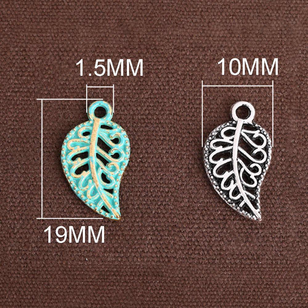 20 adet 10*19mm çinko alaşımlı tibet gümüş/yeşil içi boş düz yapraklar takılar aksesuarları DIY takı için bilezik kolye yapımı 959