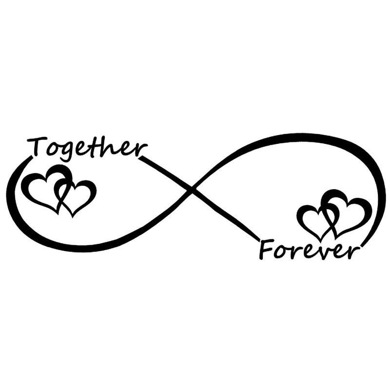 15x5 4cm together forever infinty vinyl decal sticker car