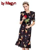 By Megyn Designer Brand Dresses Runway 2017 High Quality Fashion Women Short Sleeve Print Trumpet Mini
