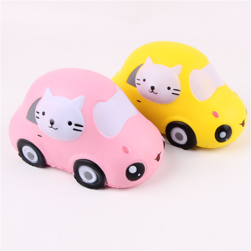 12 Pcs/Lot lente augmentation Squishy jouets Kitty chat voiture Jumbo Squishies paquet Original presser jouet amusant en gros nouveau 2018 rose jaune