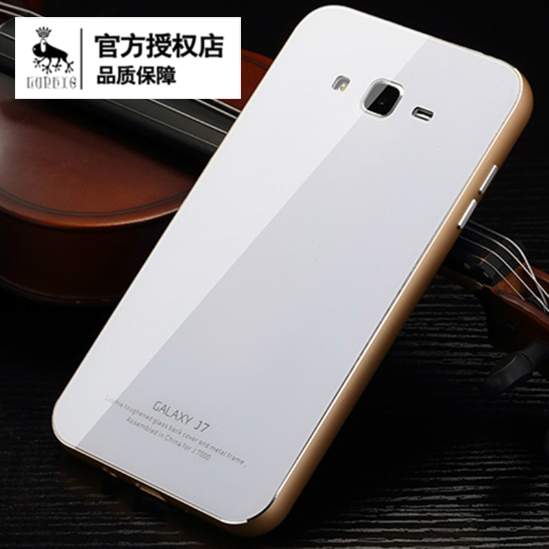 quality design 1e435 78db5 US $18.99 |Free shipping Luphie 2015 hottest new arrival guaranteed  tempered glass back cover with Aluminum metal frame case for Samsung J7 on  ...