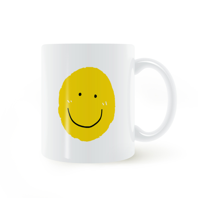 Cartoon Yellow Smile Face Expression Mug Coffee Milk Ceramic Cup Creative DIY Gifts Home Decor Mugs 11oz T1103