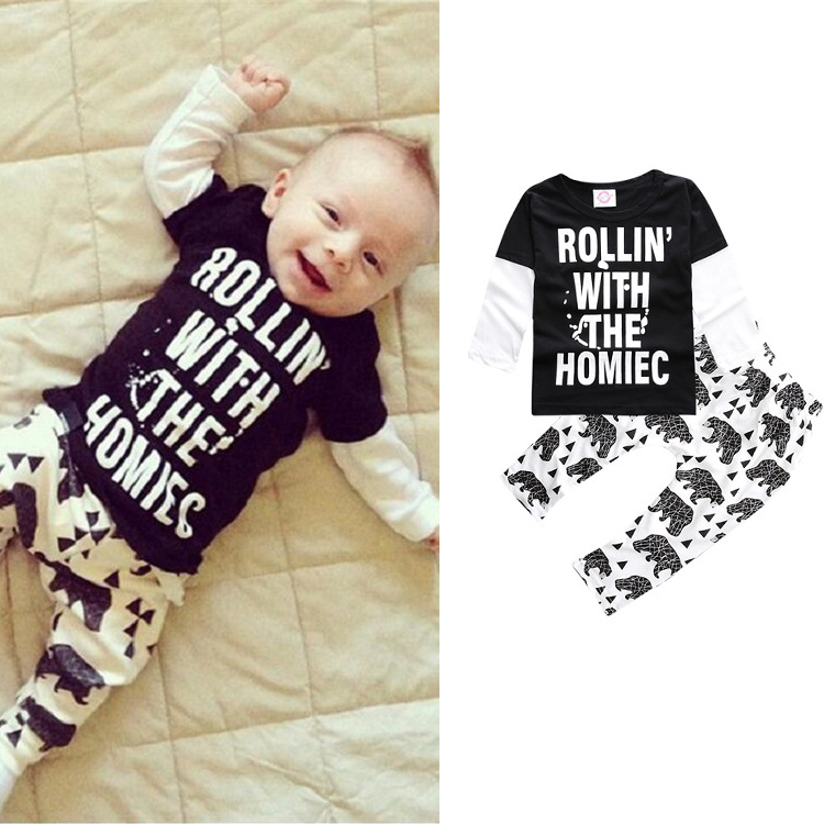 2017 Autumn Baby Boy Girl Clothes Long Sleeve Top Pants 2pcs Sport Suit Baby Clothing Set