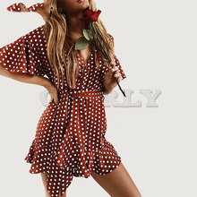 Cuerly Romantic French wrap dress women sexy v neck ruffled bow dress party club mini short dot print dress L5