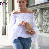 DIDK Womens Blouses For Spring Summer Ladies 2016 Hot New White Boat Neck Long Flare Sleeve