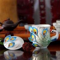 1 Pcs Enamel Porcelain Peacock Coffee Cup Creative Ceramic Cups 3D Color Office Home Coffee Tea Sets & Tea Cup