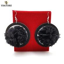 YD&YDBZ 2019 Womens Earrings  Black Flowers Drop Earring Retro Fashion Round Big Pendant Jewelery A Pair Of Punk