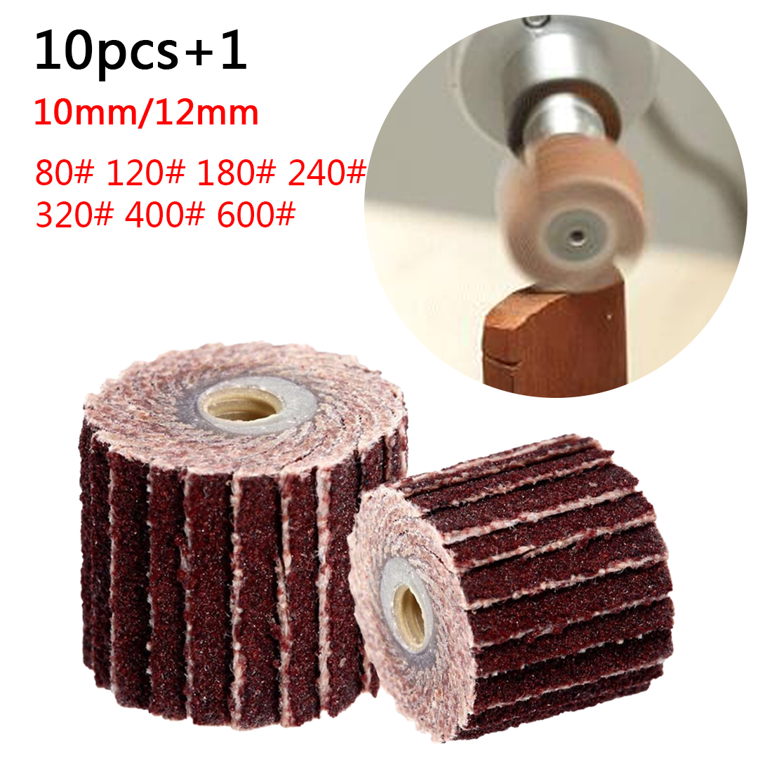 10Pcs Dremel Accessories Sanding Flap Disc Grinding Sanding Flap Wheels Brush Sand Rotary Tool 10 X 10x 3mm