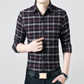 Mens Shirts New Fashion 2016 Spring Fall British Style Long Sleeve Slim Fit Casual Shirt Men Vintage Flannel Top Quality Clothes
