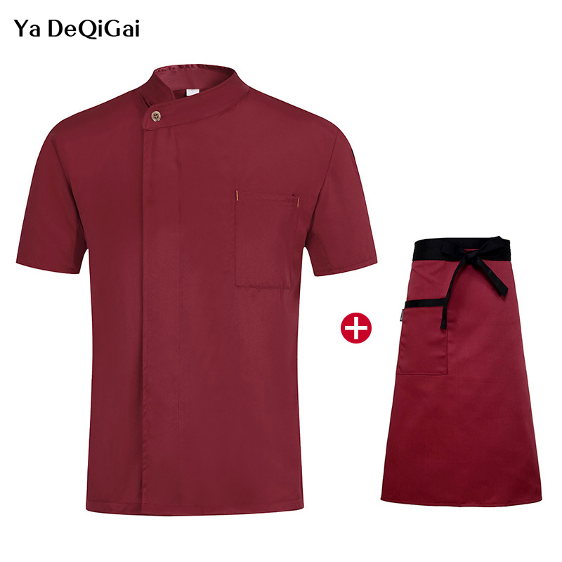 New Food Serive Oblique  Restaurant Work Uniform Short Sleeve Single Breasted Kitchen Catering Casual Soft  M-4XL Chef Clothes