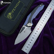 Kevin John VENOM Новый Броня Флиппер складной нож m390 лезвия CF titanium кемпинг на открытом воздухе Выживание Фруктовый нож, инструмент для повседневного использования