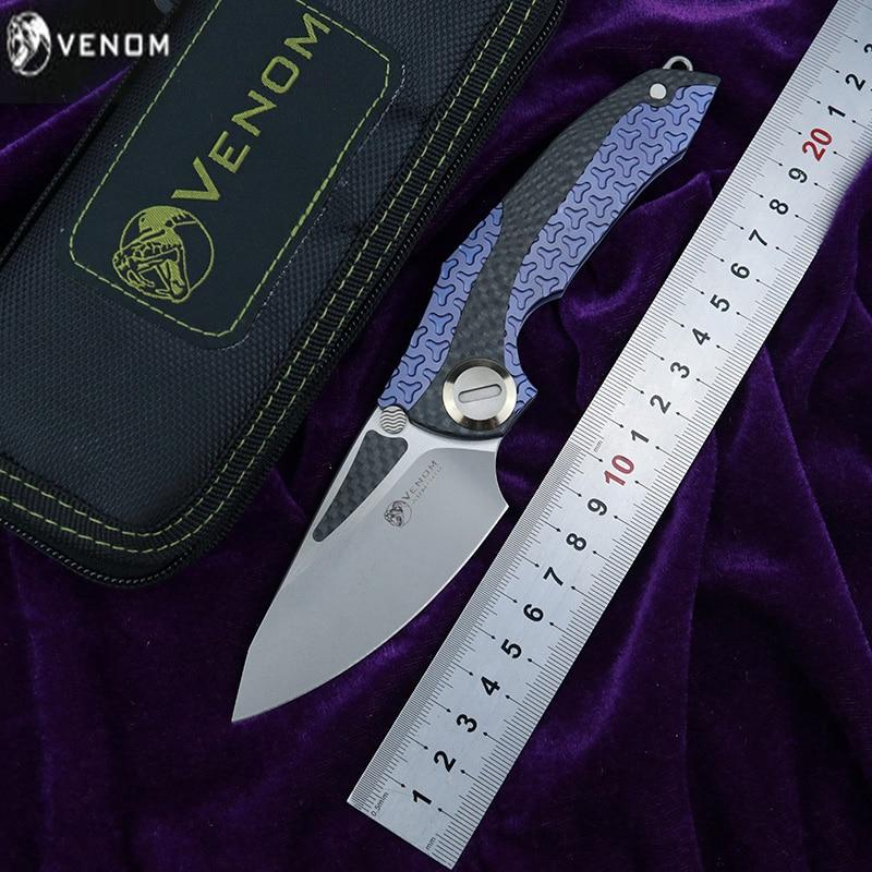 KEVIN JOHN VENOM novo armadura Flipper faca dobrável lâmina m390 CF titanium edc FERRAMENTA de sobrevivência acampamento ao ar livre faca de frutas