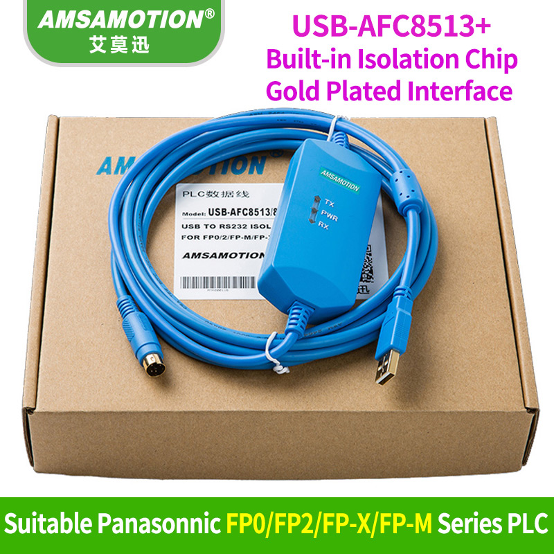 Amsamotion USB-AFC8513 Isoltaed Cable Suitable Panasonic FP0/FP2/FP-X/FP-M series PLC programming Cable Download Line недорго, оригинальная цена
