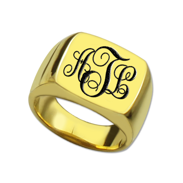 Atacado Anel Quadrado da Cor do Ouro Anel Gravado Monogrammed Iniciais Do  Monograma Nome Anel Único d562aa7162