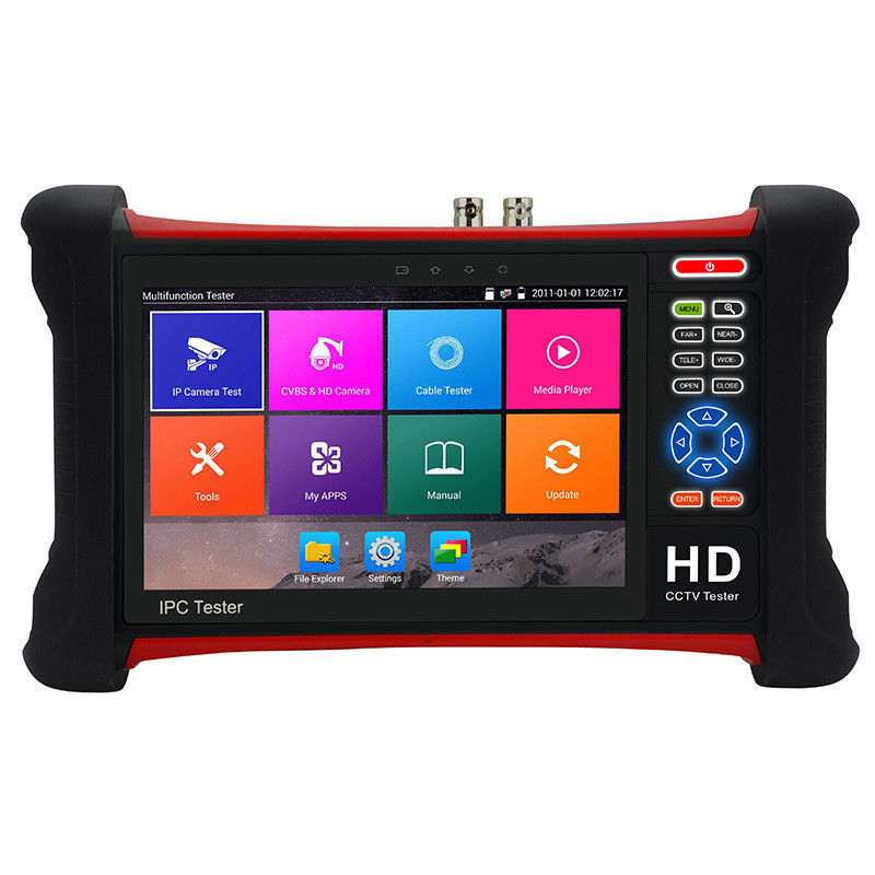 Moniteur de vidéosurveillance H.265 4K IP 7 pouces | Testeur de caméra CVBS IP ONVIF, entrée HDMI WIFI, sortie POE 48V 12V