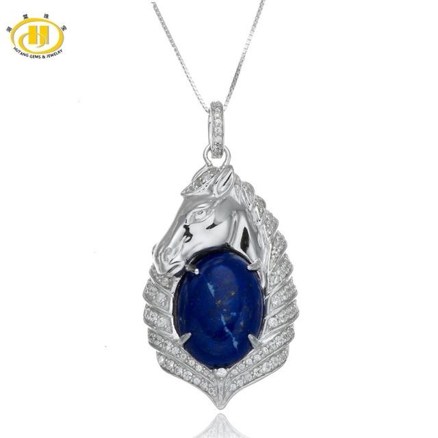Hutang 100% Naturales Lapis Lazuli Colgante Cabochon 925 Caballo de Plata Collar de La Joyería Fina