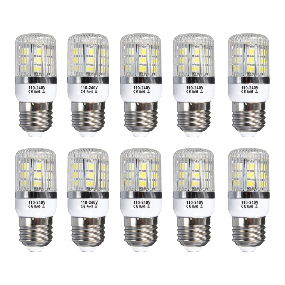 E27 5W Dimmable 27 SMD 5050 LED Corn Light Bulb Lamp Base Type:E27-5W Pure White(6000-6500K) Amount:10 Pcs g9 5w dimmable 27 smd 5050 led corn light bulb lamp color temperature pure white 6000 6500k amount 8 pcs