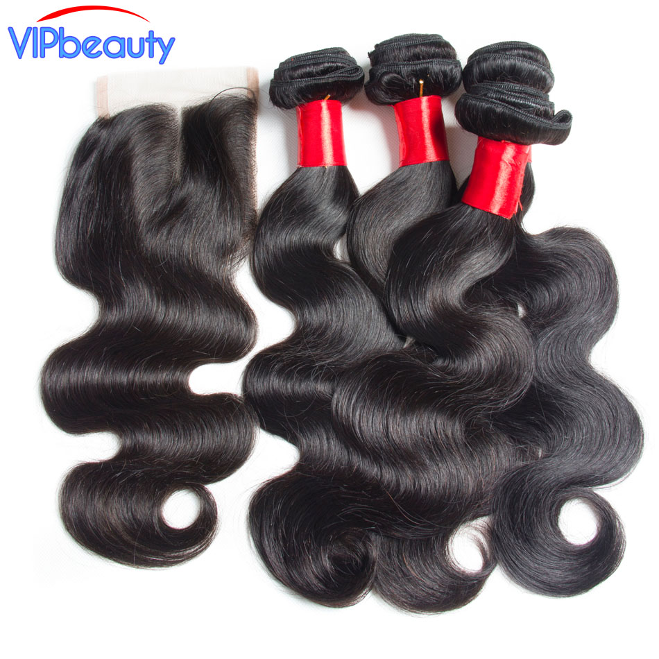 Brazilian body wave 3 bundles with closure non remy hair extension Vip Beauty human hair bundles with lace closure body wave