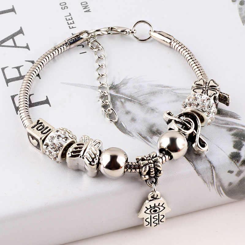 Rhinestone zroszony wąż łańcuch bransoletka damska i bransoletki złe oko kocham cię koniczyna wisiorek Glamour pulseira Lady DIY biżuteria