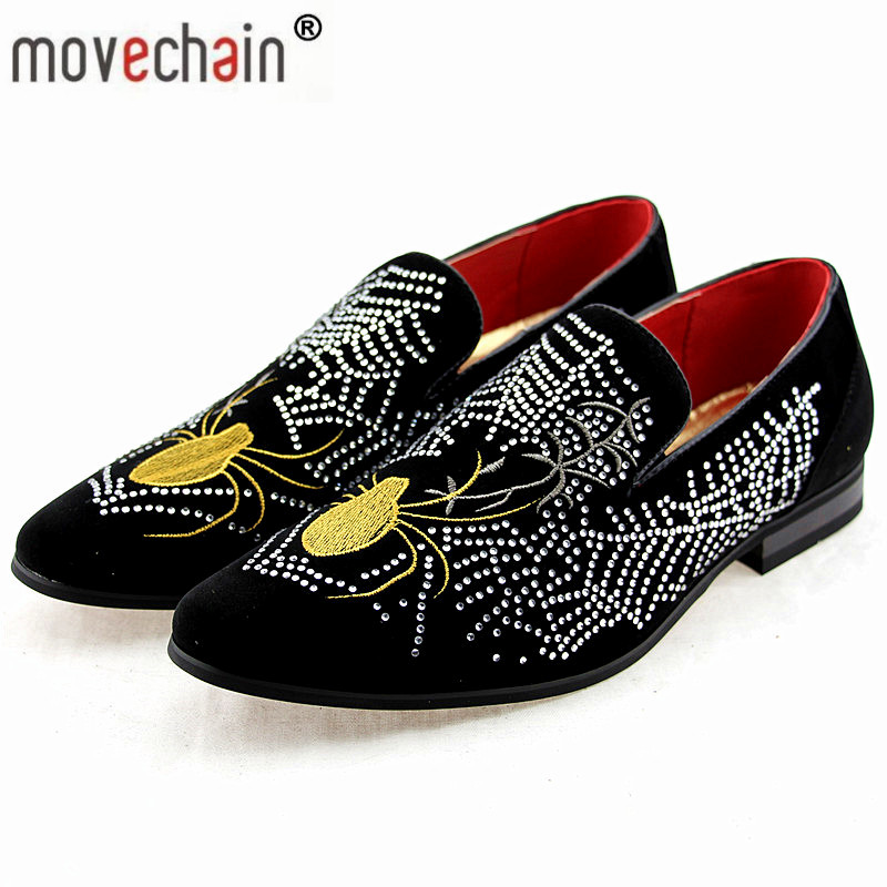 Men's Shoes Movechain Mens Fashion Luxury Brand Suede Leather Loafers Mens Casual Rhinestone Spider Moccasins Shoes Man Party Driving Flats