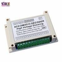 110v-220v ac de alta tensão 6 canais dimmer 6ch dmx512 5a/ch conduziu a placa de decodificador dmx conduziu o dimmer para o módulo conduzido da lâmpada da luz da fase