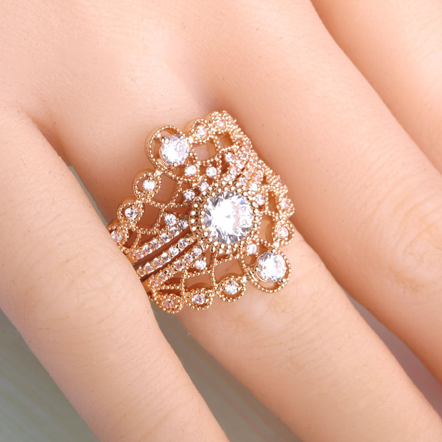 Blucome Unique Three Stackable Rings Gold Color Crown Round Cubic