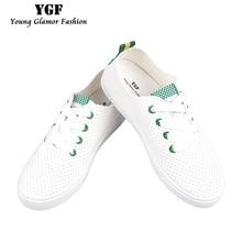 YGF Nouvelle Mode Femmes Chaussures Casual Blanc Plat Chaussures En Cuir Dentelle Up Tenis Feminino D'été Respirant Casual Chaussures Dames Sapato