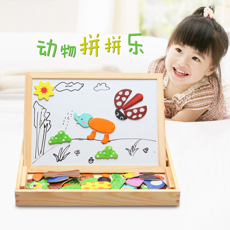2style Multifunctional Educational Animal Wooden Magnetic Puzzle Toys for Children Jigsaw Baby's Erasable Drawing Easel Board 1000pcss wooden puzzles wool puzzle adult decompression toy jigsaw puzzle for children s educational toys developmental game