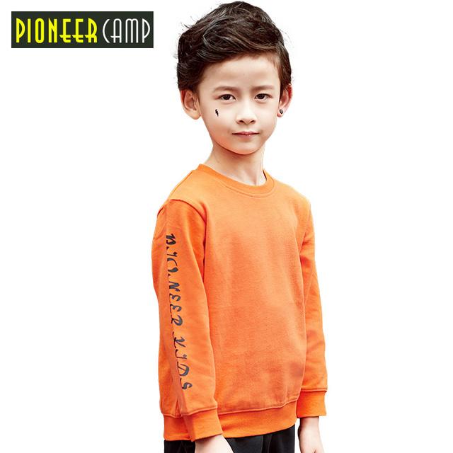 Pioneer camp crianças 2017 nova primavera chegada meninos camiseta crianças de Manga Longa Em Torno Do Pescoço Camiseta Moda Impresso Crianças Sweatershirt