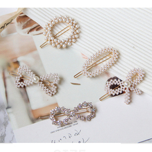 Women Fashion Pearl Metal Hair Clips Stick Accessories Girls Hairpins Lady Sweet Geometric Barrette