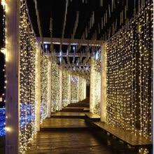 Cortina de led de 3x1/3x 2/3x 3/3x6m, conector de natal luzes para área interna/externa, para casamento, decoração