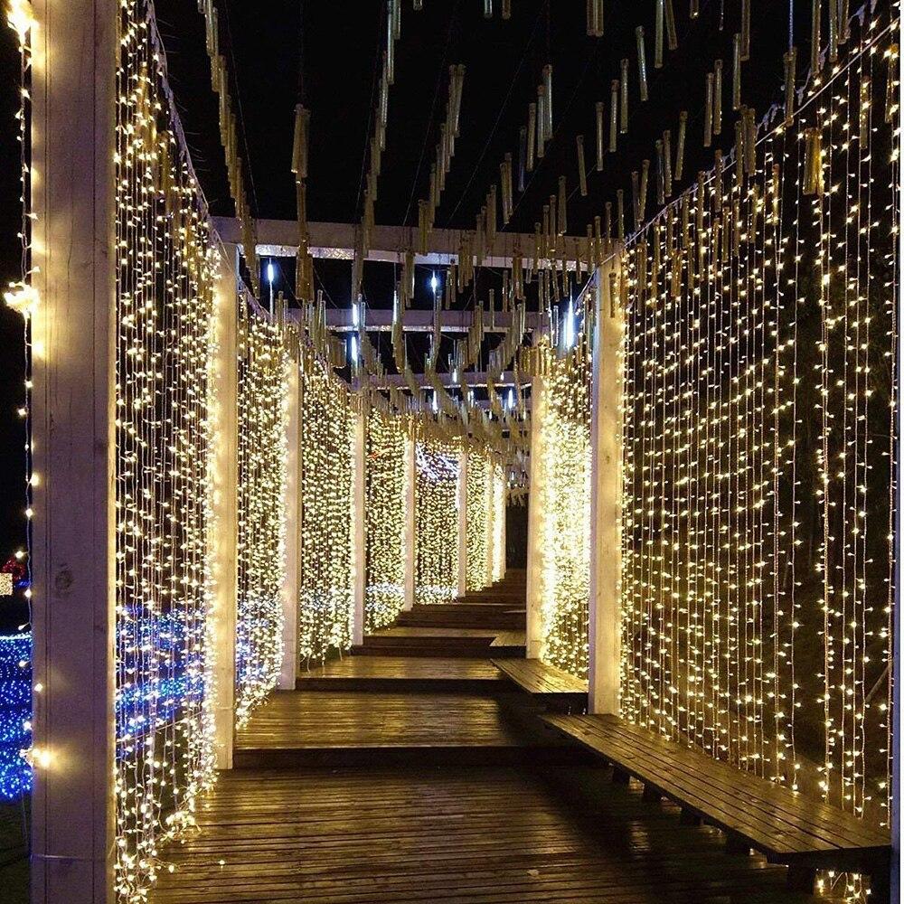 LED Icicle String Light 3x1/3x2/3x3/3x6m เชื่อมต่อ Christmas Garland Lights ในร่ม/กลางแจ้งงานแต่งงานตกแต่ง