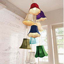 G4 Modern hanging Clusters colourful fabric shade LED chandeliers lights/8 Heads DIY bedroom/children room lamps 110V 220V