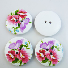 15PCS 30MM butterfly painting wooden buttons coat boots sewing clothes accessories MCB-233