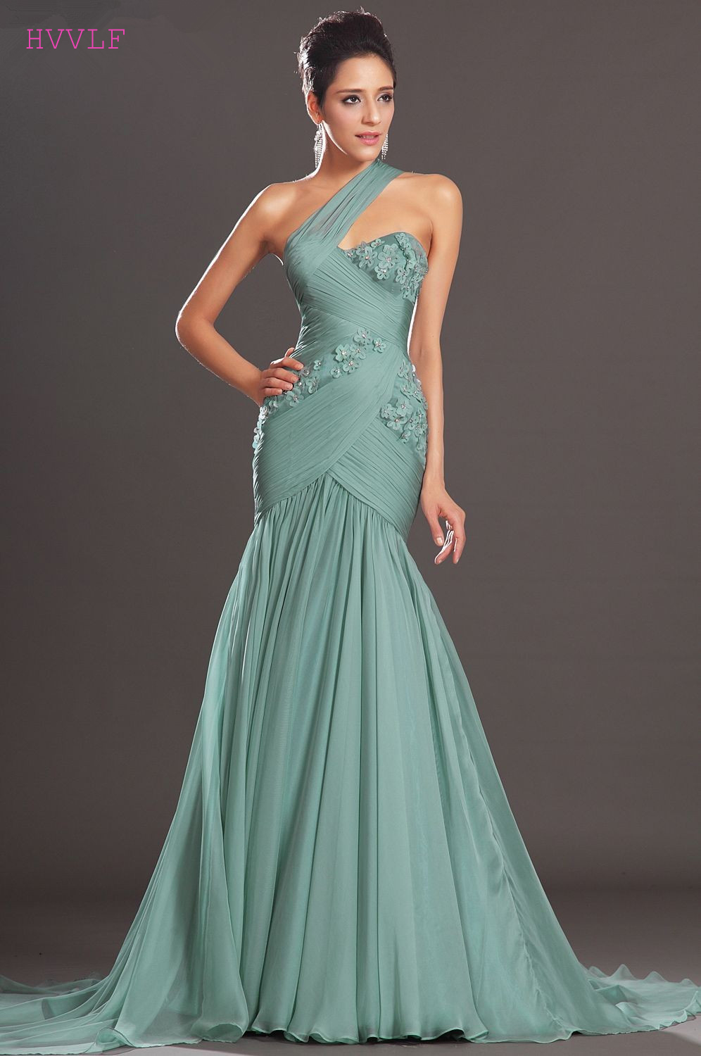 Blue Evening Dresses 2019 Mermaid One shoulder Chiffon Beaded Flowers Backless Long Evening Gown Prom Dresses