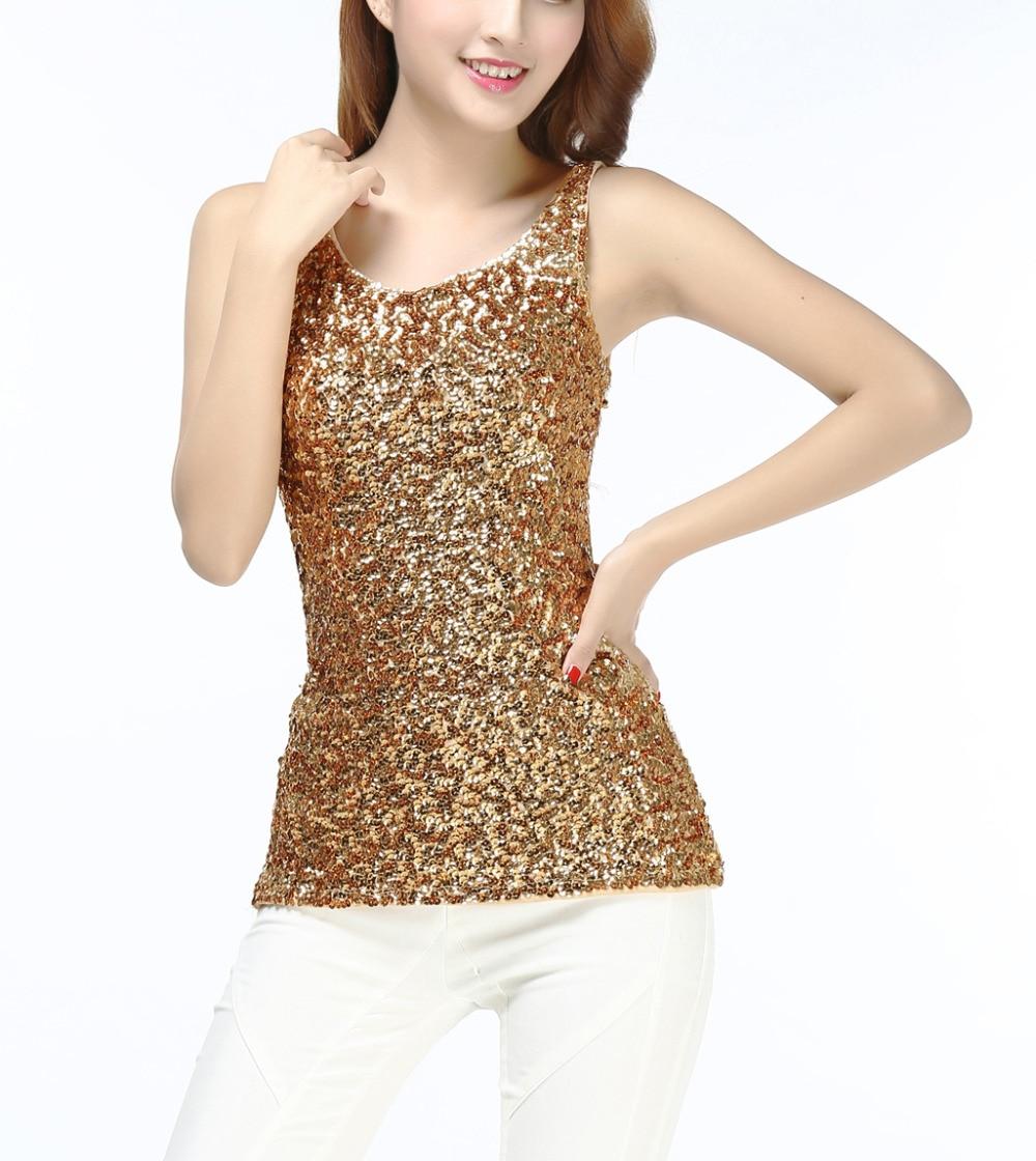 Sparkly Glitter Sequin Embellished Knitted Slim Scoop Tank -3264