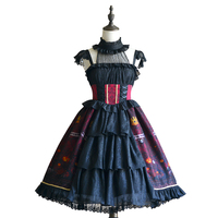 Halloween Sweet Cute Classical Black White Lolita Dress Halter Strap Lace Lolita Costume Party Dress Lolita Gothic