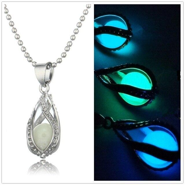 QCOOLJLY Fashion Women Water Drops Shape Moonlight Luminous Pendant Necklace Spi
