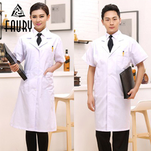 Unisex Doctors Serving Seragam Scrub White Long Lab Coat Perubatan Jururawat Doktor Lengan Pendek Seragam Suit Kolar Soft Wear Kerja