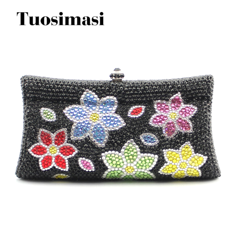 Flower Crystal Evening Bag Clutch Bags Clutches Lady Wedding Purse Rhinestones Wedding Handbags Evening Bag luxy moon bling crystal clutch purse rhinestones evening bag for women jewelry hard case handbags bridesmaid shoulder bags zd799